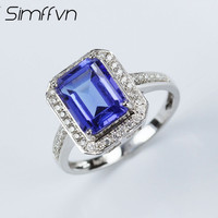 Simffvn Cluster 18K White Gold Round Cut 2 71CT Emerald Cut Blue Tanzanite Engagement Rings For