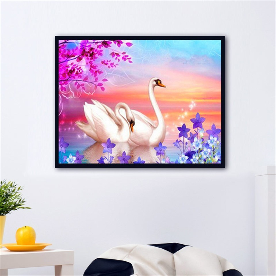 AZQSD Diamond Embroidery Swan Gift Diamond Painting Home Decor Needlework Full Square Animal Cross Stitch 5D DIY Handmade in Diamond Painting Cross Stitch from Home Garden