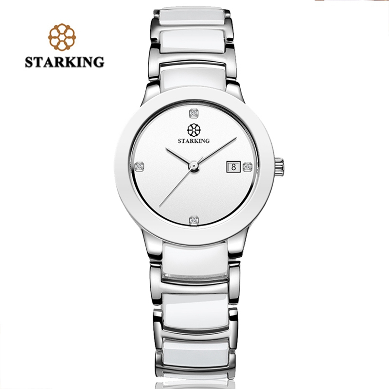 STARKING Luxury Women Watch Famous Brand Ceramic Band Watch Fashion Casual Quartz Clock Ladies Rose Gold Wrist Watches for Girls duoya fashion luxury women gold watches casual bracelet wristwatch fabric rhinestone strap quartz ladies wrist watch clock