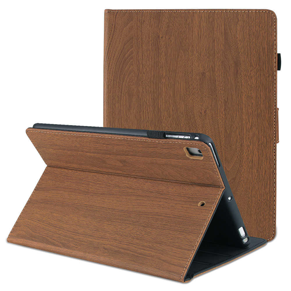 Dark Brown Blue For iPad 10 2 2019 Smart Cover Wood Pattern PC Flip Case for iPad 7th Generation