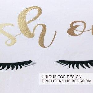 Image 3 - BlessLiving kirpik yatak kraliçe altın ve siyah sevimli gözler desen yorgan kılıfı seti 3 parça komik nevresim moda kızlar için