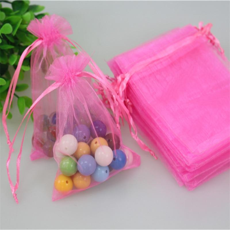 Hot Sale Wholesale 100pcslot 1015cm Pink Organza Bags Favor