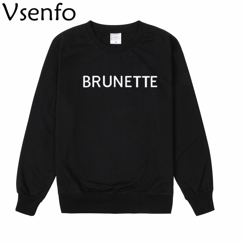 VSenfo Harajuku Brunette Blonde Sweatshirt Women Jumper Tops Hipster Long Sleeve Boyfriend Style Crewneck Sweatshirts Moletom