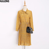 Spring New Long Sleeved Dress Cultivate One S Morality Show Thin Chiffon Floral Render Of Pleated