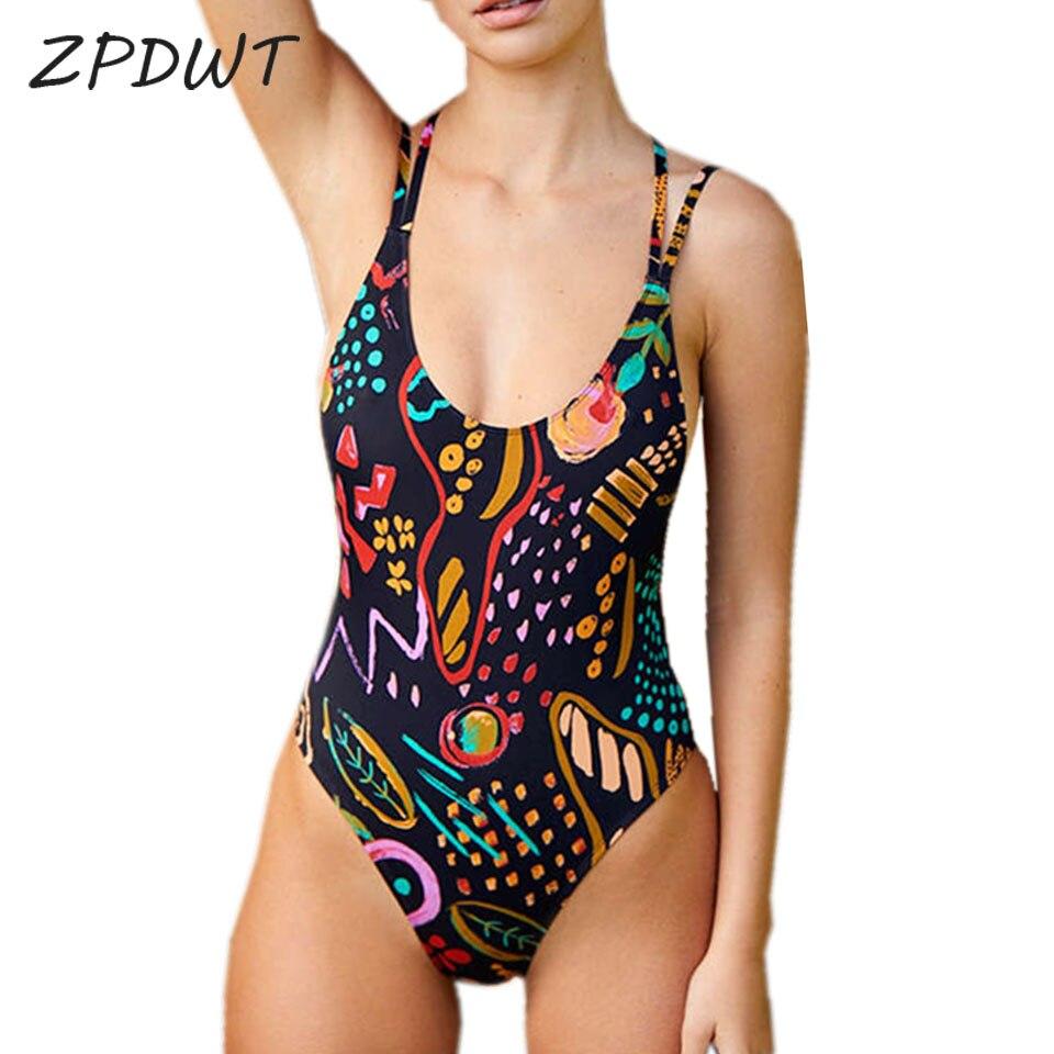 ZPDWT One Piece Swimsuit Retro Monokini Swimwear Women 2019 Bathing Suit Female Bodysuit Summer Brazilian Swimsuit Swim Wear