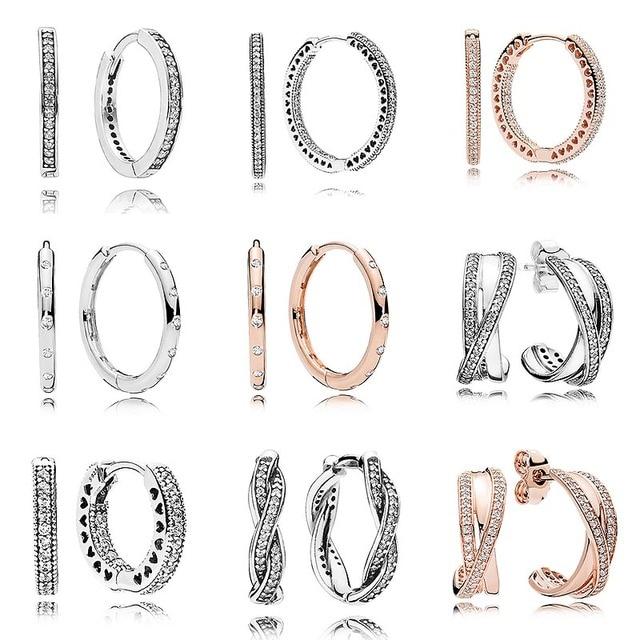 92e7c2cfef1d Rosa gotas corazón entrelazados pendiente aros de plata de ley 925  pendientes de plata para mujer