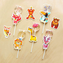 40Pcs Cute Animal Cartoon Candy Lollipop Decoration Cards For Kids Birthday Party Supplies Candy