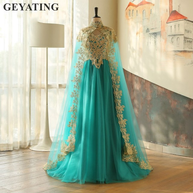 8cb357ec49773 Turquoise Muslim Arabic Evening Dresses with Cloak Gold Appliques Moroccan Kaftan  Dubai Prom Dress Turkish Formal Party Gowns