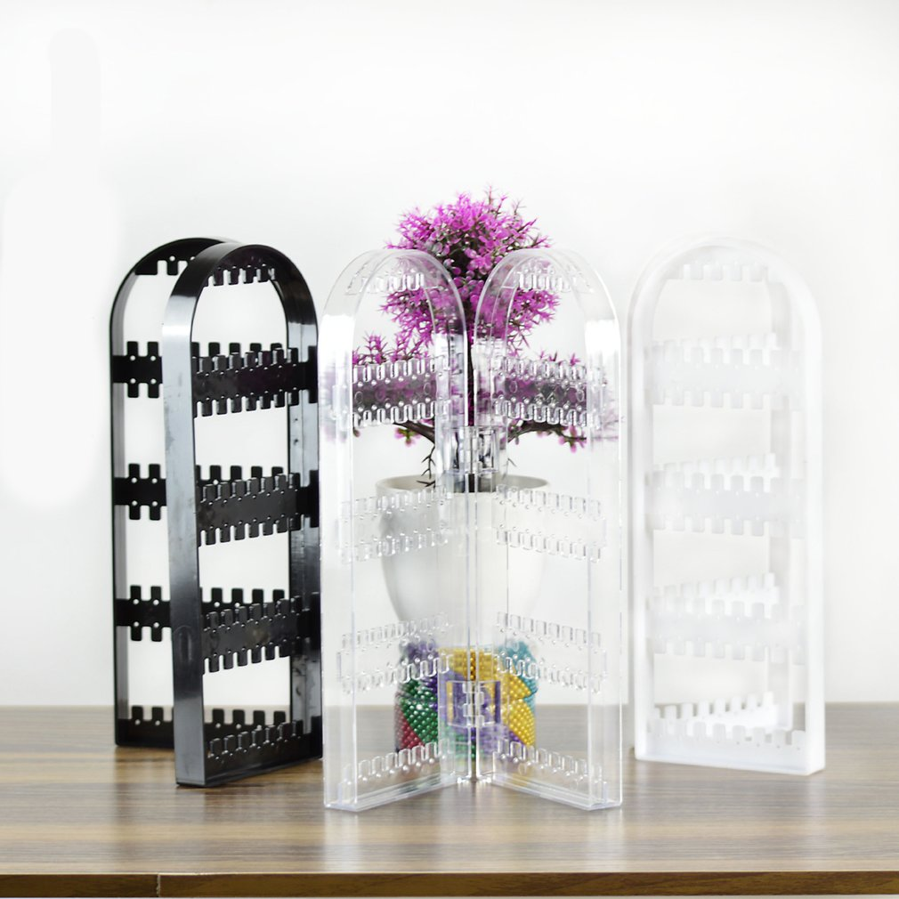 2/3 Panel Fashion Jewelry Display Screen Folding Earrings Stand Holder Bracelet Plastic Clear Organizer Necklace Storage Rack