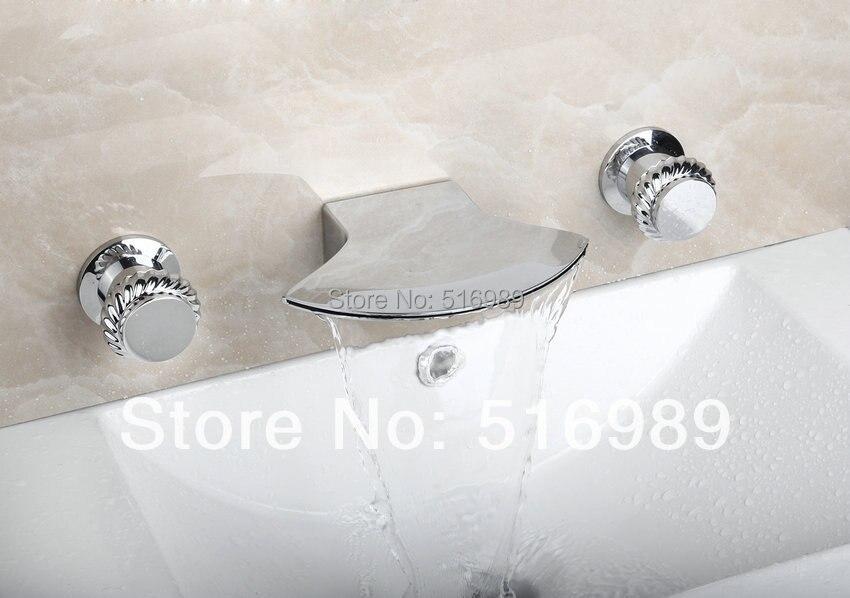 Hot Sale Good Quality Hatchet Shape Wall Mounted 3 pcs Chrome Bathtub Faucet Set 23F