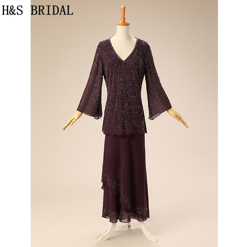 H&S BRIDAL Dark Navy Blue Formal Mother Dresses Sheer Long Sleeve V Neck A line Chiffon Party Mother of the Bride Dresses