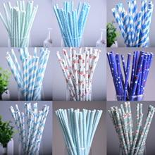 25pcs lot 10styles blue drinking paper straws for kids birthday party wedding christmas decoration chevron drinking