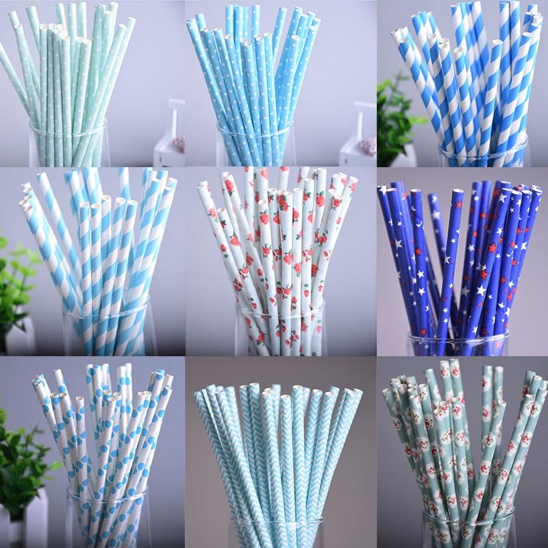 25pcs/lot 10styles blue drinking paper straws for kids birthday party wedding christmas decoration chevron drinking paper straws