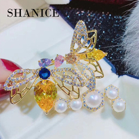 SHANICE luxurious Colorful Bee Full Crystal Cubic Zirconia Brooches Trendy Plant pearl brooch Big pins Hyperbole Ethnic gift