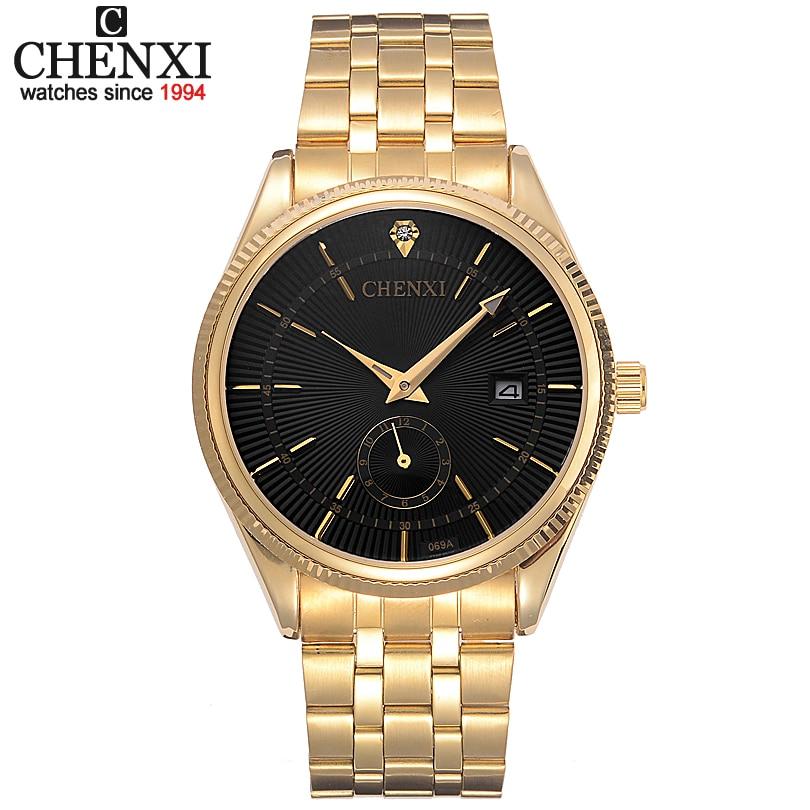 CHENXI Golden band Watch Men Watches Luxury Famous Wristwatch Male Clock Quartz WristWatch gentleman Calendar Relogio Masculino цена
