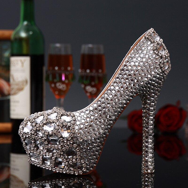 Brand design Women high heels sexy pumps 2017 Fashion Style women silver Rhinestone platform Wedding shoes for women brand platform shoes woman high heels pumps sexy red silver women shoes 11cm high heels fashion wedding bridal shoes