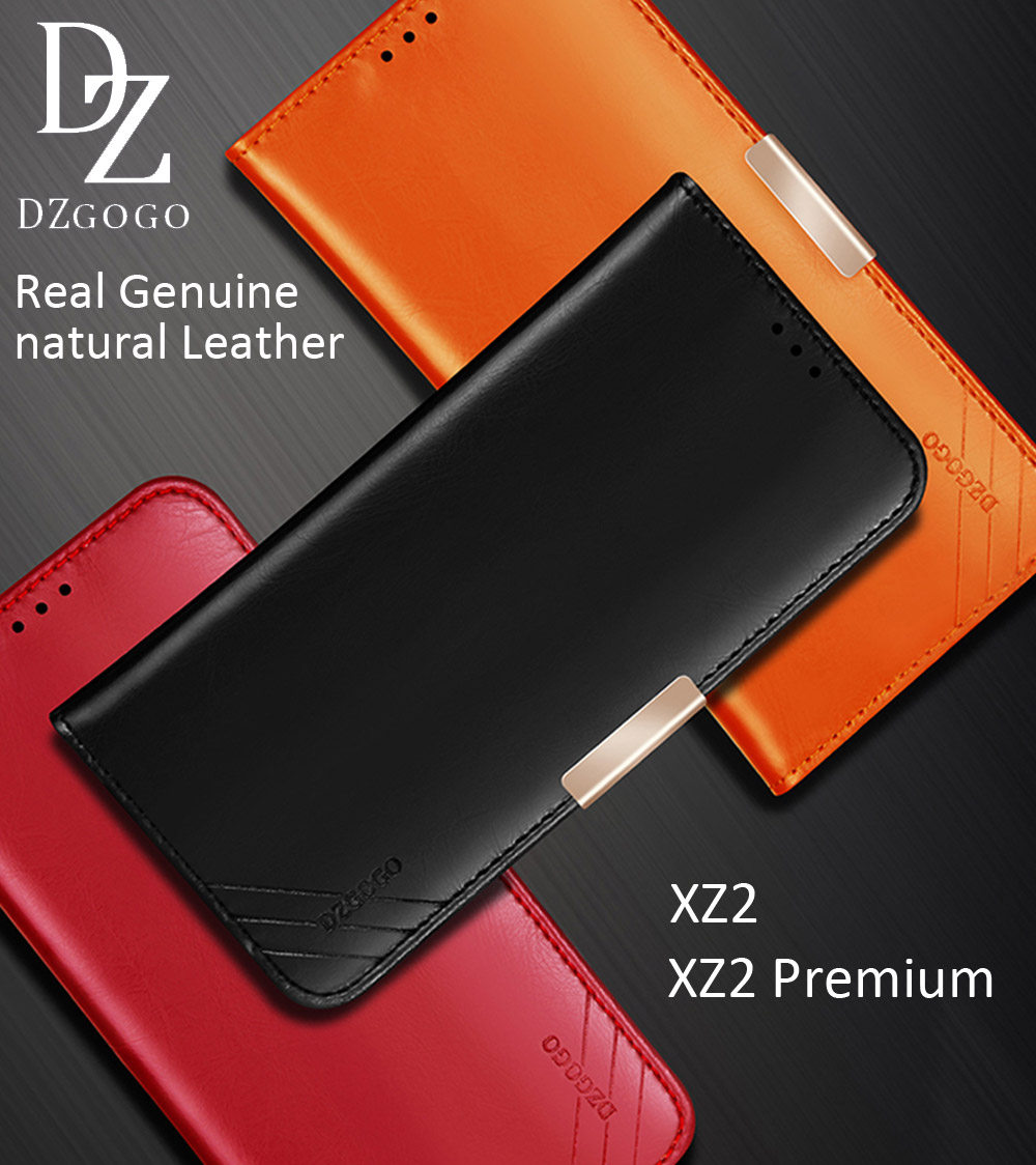DZGOGO Real Genuine natural Cow Leather Case For Sony Xperia XZ2 Premium Magnetic Deluxe Luxury Wallet Bag Cover