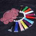 Hot Wholesale DIY Manicure 12 Colors 3D Paint Tube Draw Painting Acrylic Nail Art Tip UV Gel & Pallet