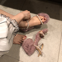 Ins Open Toe Fur Sandals Women High Heels Buckle Strap Sandals Sweet Pearls Sandals Female Pink Fleece Sandalias