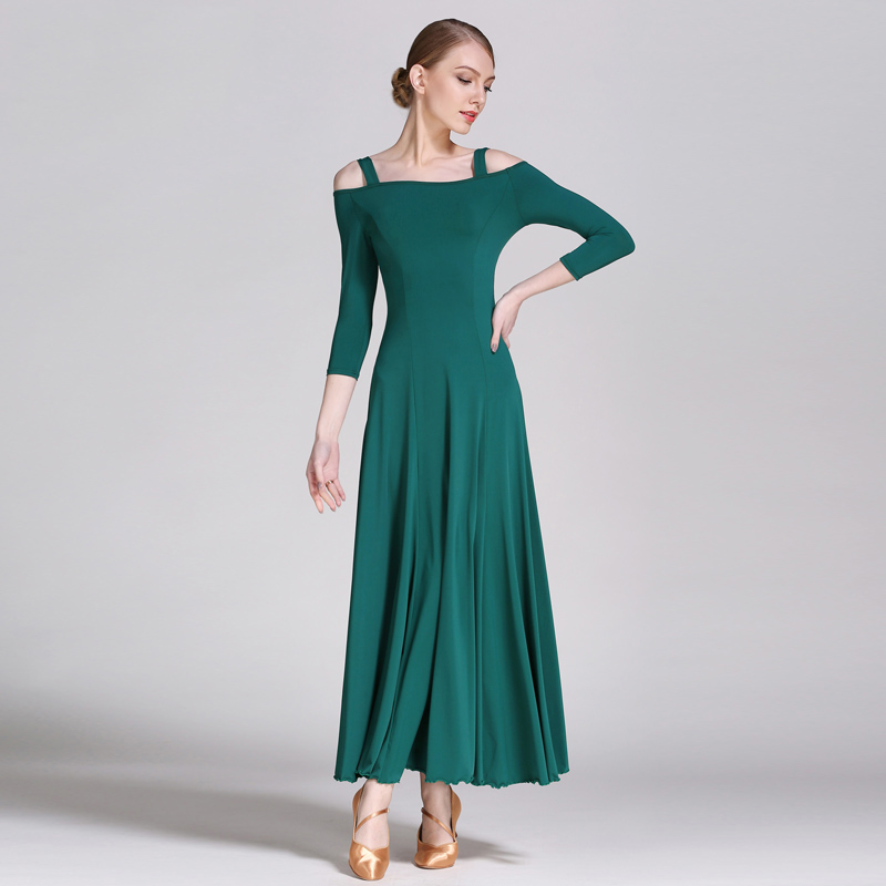2018 Ballroom Dance Dresses Women Ice Silk Modern Flamenco Waltz Ballroom Dancing Dress Lady Performance Practice Wear DN1596