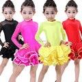 20 unids/lote perspectiva Rhinestone de manga larga de baile latino Cha-cha Dancewear ropa de funcionamiento de los cabritos de la princesa desgaste vestidos etapa
