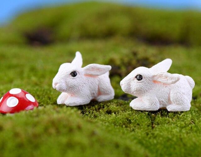 2pcs/lot mini animals resin Small Bunny 1.5cm fairy garden decor ...