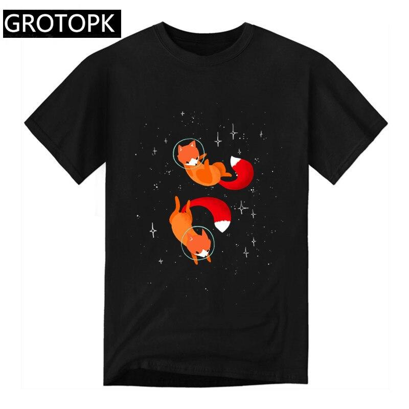 2019 Big Size Space Foxes Men T Shirt Hip Hop Short Sleeve Black Tshirt Harajuku Streetwear