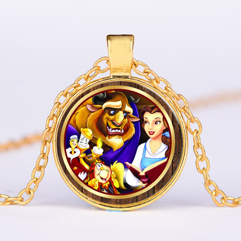 12pcs/lot 2017 Beauty and The Beast Glass Locket Necklace book clock red flower charm necklace Multicolor tone gift