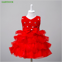New Diamond Silk Bow Girl Party Dress Wedding Birthday Girls Dresses Tutu Style Princess Clothes For