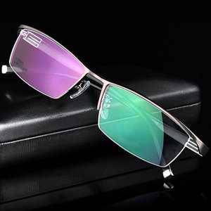 Image 2 - 유연한 템플 암이있는 reven jate 티타늄 합금 프론트 림 안경 프레임 3 가지 옵션 색상의 반 무테 안경 프레임