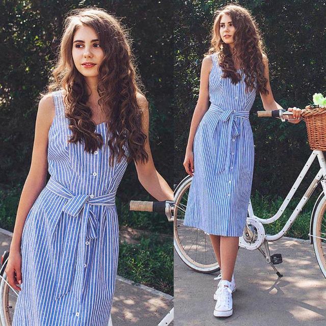 KANCOOLD dress Women's Party Blue Striped Sleeveless Dress Sexy Summer Bandage Single-Breasted dress women 2018jul20