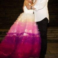 Уникальный оборками Многоуровневое красочные свадебные фатиновые юбки 2018 индивидуальный заказ пышные бальные платья Длинные юбка пачка Д