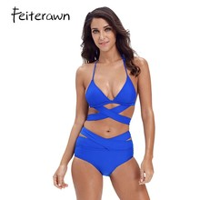 6c90509661 Feiterawn Bikini Set Halter 2018 Swimming Suit For Women Sexy High Waist  Cut Out 2pcs Swimwear