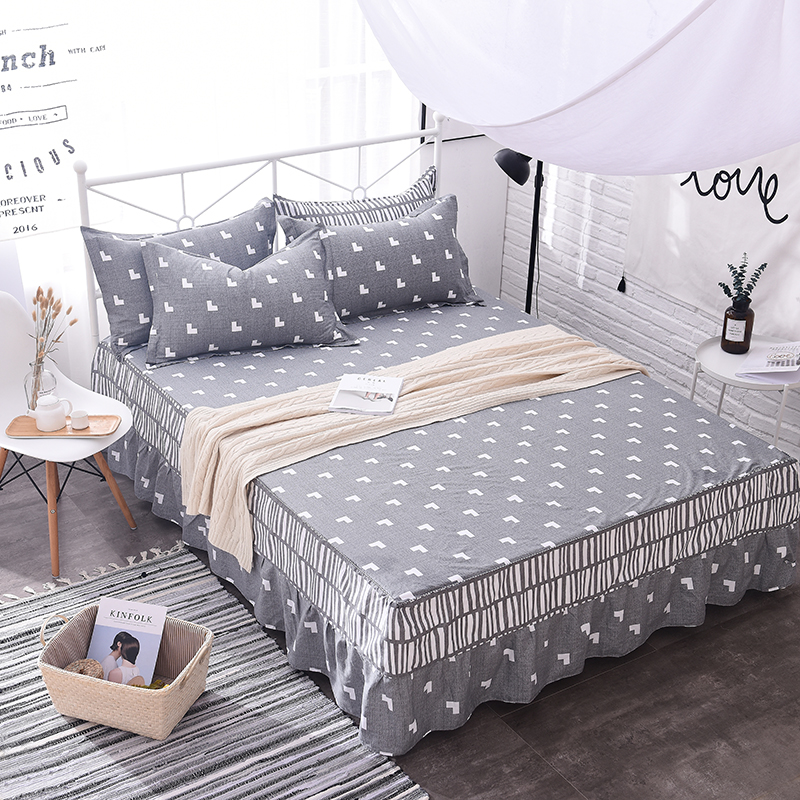 Gray+White Love Pattern Bed Skirt Cotton Comfortable Breathable Multi-Color Bed Covering Painting 3Pcs Bedding Sets Pillowcase