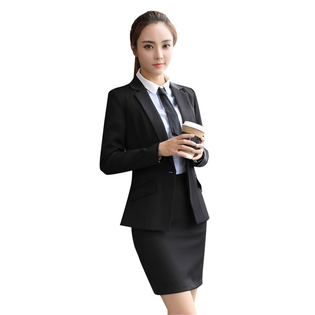 Skirt Suit Women Office Ladies Skirt Suits Set High Quality New 2018