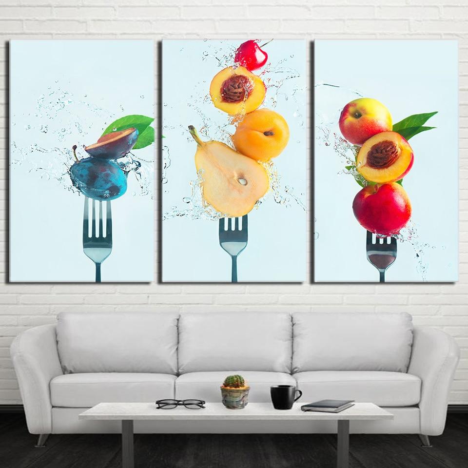 hd impreso lienzo cuadros modular kitchen restaurant decoracin de la sala unidades melocotones frutas pinturas arte de la par