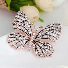 High Quality Fashionable Rhinestone Butterfly Brooch Pin Gold Women Dress Wedding Bridal Brooch Pin
