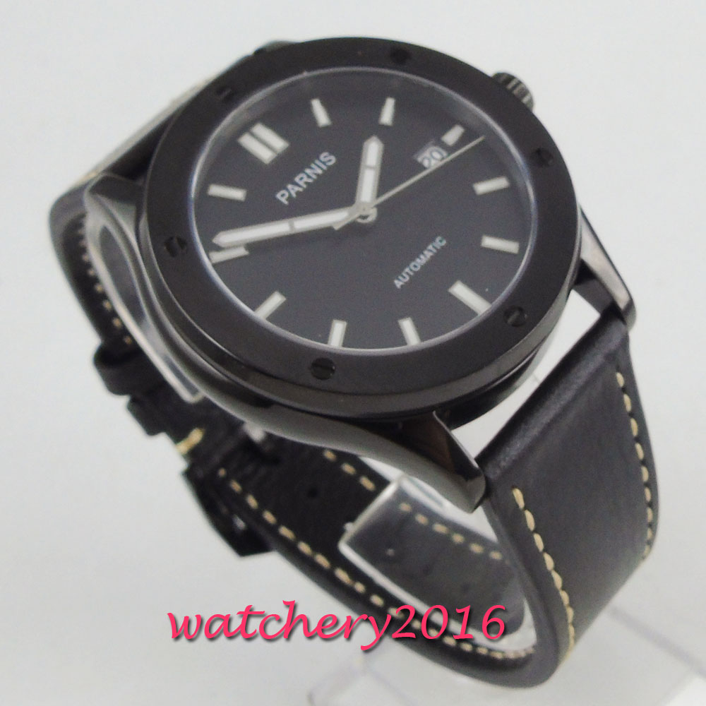 42mm PARNIS Black Dial Brushed PVD Case Date Sapphire Glass Japan NH35A 24 jewels movement Automatic mechanical men's Wristwatch цена 2017