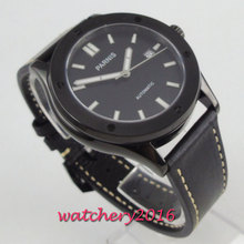 купить 42mm PARNIS Black Dial Brushed PVD Case Date Sapphire Glass Japan NH35A 24 jewels movement Automatic mechanical men's Wristwatch по цене 7729.77 рублей