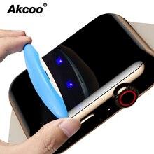 цена на Akcoo UV liquid Glass for Apple watch 4 screen protector 6D full cover film for apple watch 1 2 3 38 40 42 44mm glass protector