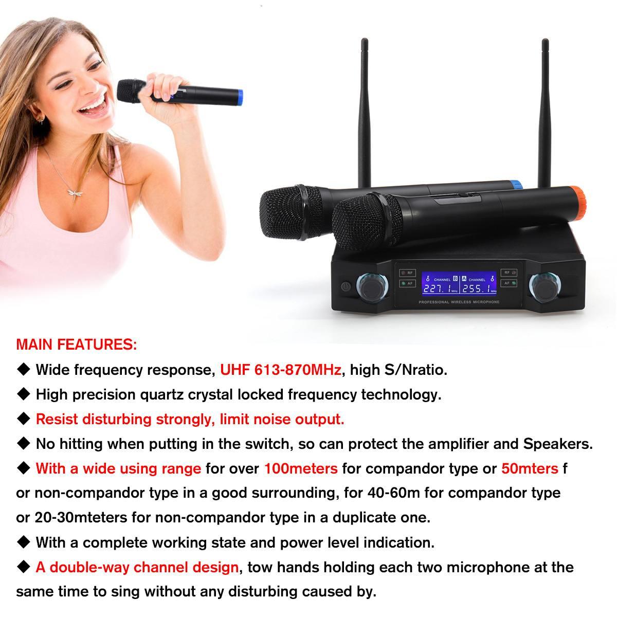 Système de Microphone sans fil UHF dynamique 2 canaux 2 poche karaoké Microphone cardioïde professionnel - 4
