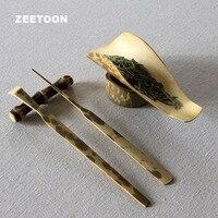 Natural Mottled Bamboo Handmade Chahe Teaspoon Tea Needle with Holder 5PCS Set Teaware Tea Set Accessories Cha Ze Tea Puller