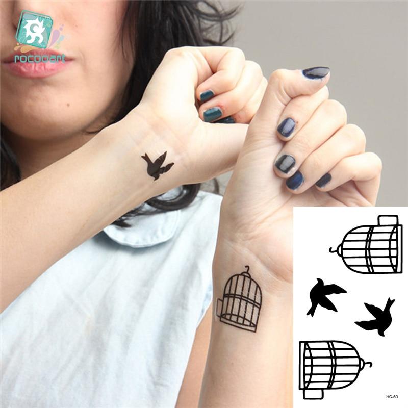 Rocooart Hc1060 Gefälschte Tattoo Aufkleber Liebhaber Arm Schnelle Tattoo Vögel Käfig Muster Wasser Transfer Temporäre Tattoos Aufkleber