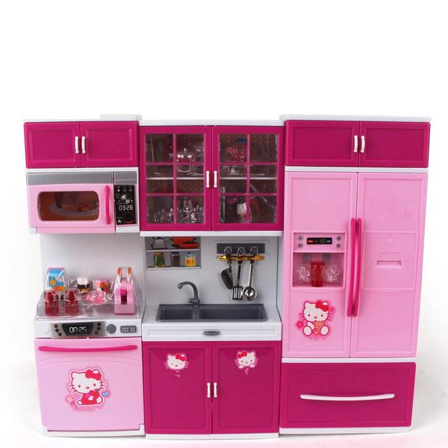 Kids Large Kitchen Playset With Sound And Light Girlsu0026Boy Pretend Cooking  Toy Play Set Pink Simulation