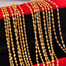 10PCS Fashion Jewelry 16″-30″ Gold Filled Double Water Wave Necklace Chain Women's Necklace Lobster Clasp Wedding Party Gift