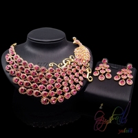 Yulaili Hot Sell Peacock Design Cubic Zircon Plated Gold Copper Women Crystal Jewelry Sets