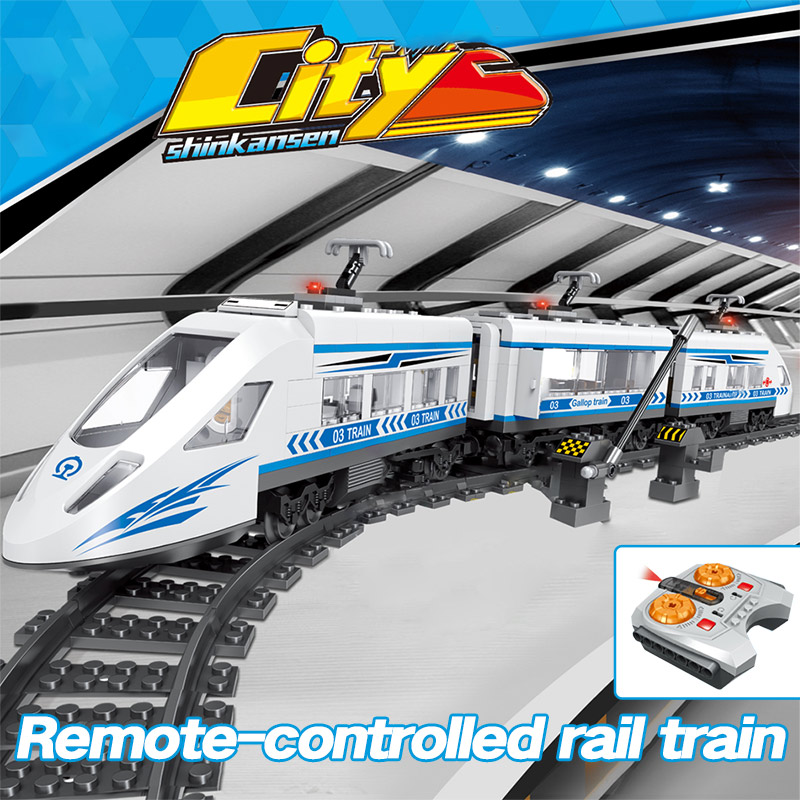 Image 2 - 583pcs RC Blocks legoingly Technik City Series Railway Train Station High speed Rail Building Blocks Bricks Sets Toys For Boys-in Blocks from Toys & Hobbies