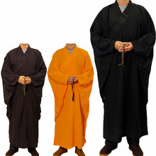 3 colors Unisex Shaolin Temple Costume Zen Buddhist Robe Lay Monk clothes Meditation Gown Kung fu Training Uniform Suit(China)