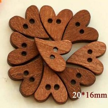 50pcs/lot Sweet heart wooden buttons , Cartoon wooden buttons, wooden buttons (SS-1747)