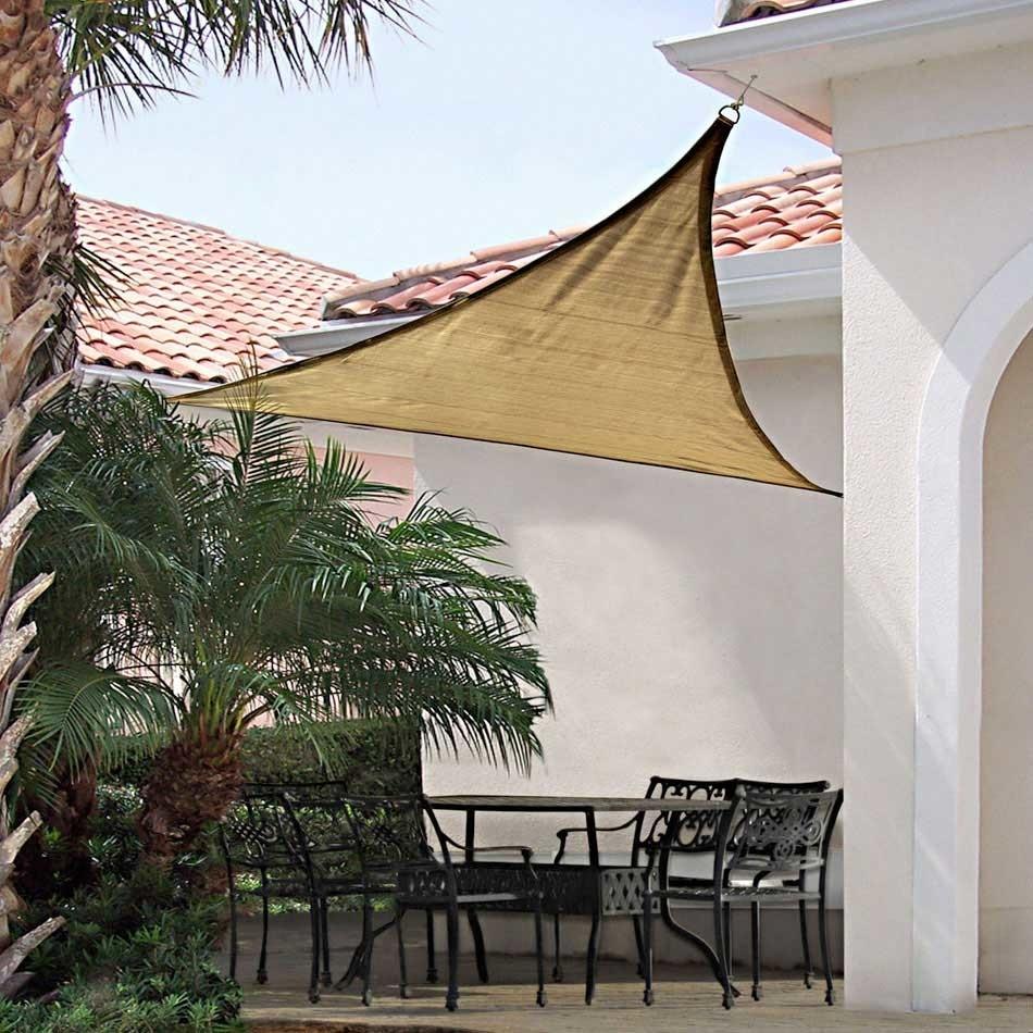 ShelterLogic 25720 12 ft. - 3 7 m Triangle Shade Sail - Sand 230 gsm тент shelterlogic gardendreams 80240